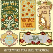 Link toOrnate vintage labels creative vector set 05 free