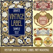 Link toOrnate vintage labels creative vector set 06 free