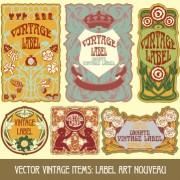 Link toOrnate vintage labels creative vector set 07 free