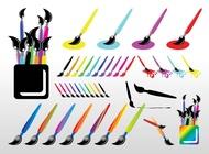 Paint brush set vector free