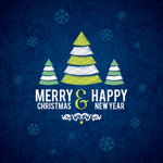 Link toPainted christmas tree greeting cards vector