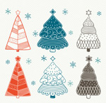 Link toPainted christmas trees vector