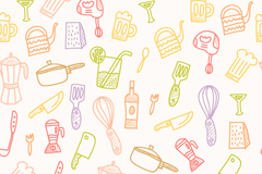 Link toPainted kitchen supplies seamless vector background illustration