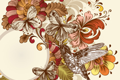 Link toPainted retro hummingbird flower background vector