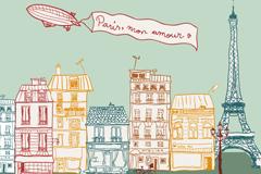 Link toPainting paris street scenery vector