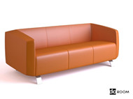 Link toPale orange comfortable three seats sofa 3d model
