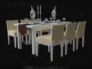 Link toPale yellow wooden table and chairs combination 3d model