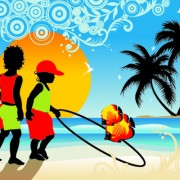 Link toPalm trees with boys travel background vector free