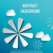 Link toPaper cut cloud and floral vector background free