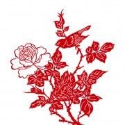 Link toPaper cut flower and bird vector free