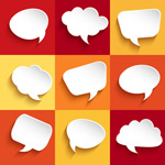 Link toPaper-cut language bubble vector