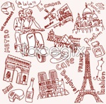 Link toParis and london line drawing vector