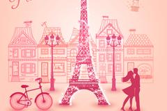 Link toParis romantic pink vector illustration