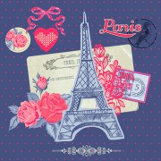Link toParis with romantic elements vector free
