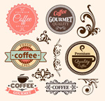 Link toPattern and coffee label vector
