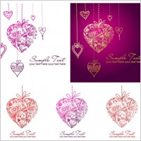 Link toPattern composed of vector heartshaped pendant