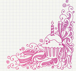 Link toPattern with cup cakes vector