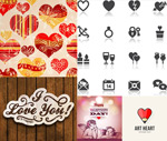 Patterns and heart-shaped vector