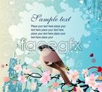 Link toPeach-cherry blossom bird vector
