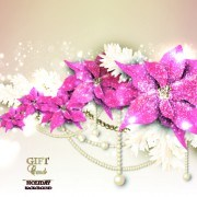 Link toPearls with flowers holiday background vector 01