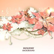 Link toPearls with flowers holiday background vector 02