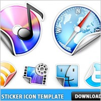 Link toPeeling sticker icon template psd