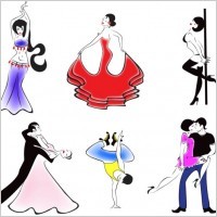 Link toPeople dancing silhouette 01 vector