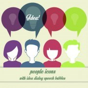 Link toPeople icons and speech bubbles vector 05