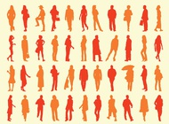 People silhouettes pack vector free