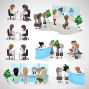 Link toPeople transact business in the bank vector set 01 free