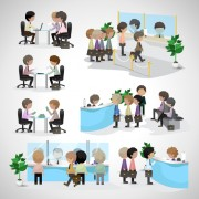 Link toPeople transact business in the bank vector set 06 free