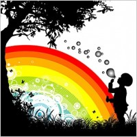 Link toPeople trees flowers and rainbow silhouette vector