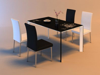 Link toPersonalized black and white kitchen furniture 3d model