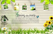 Link toPhoto psd album wall design of the spring story