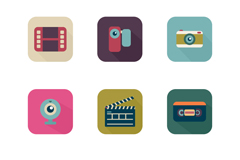 Photography and video 9 square icon vector