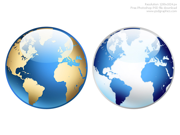 Photoshop world globe icon psd