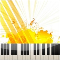 Link toPiano keys on abstract background