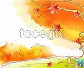 Link toPig fall scenery vector map 09
