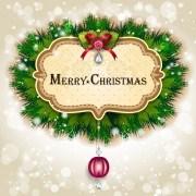 Link toPine needles frame christmas background 03 vector