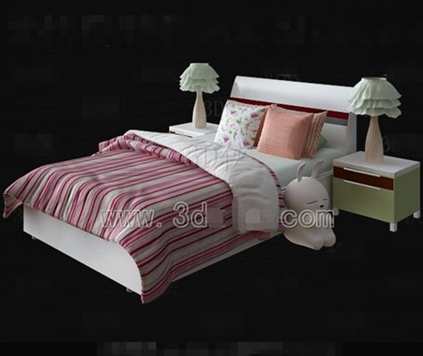 Link toPink and white bed linen children bed 3d model