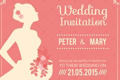Link toPink bride wedding invitation card vector