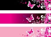 Link toPink butterfly banner vector design