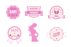 Pink child element tag vector