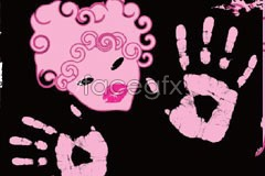 Link tovector abstract print paw and portrait female Pink