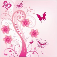 Link toPink floral swirl with butterfies vector illustration