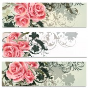 Link toPink flowers with floral banners vector free
