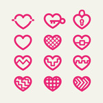 Link toPink red heart icon vector