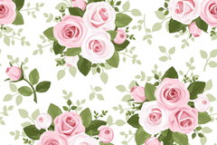 Pink rose bouquet seamless vector background illustration