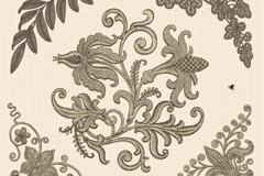 Link toPlant embroidery retro background vector