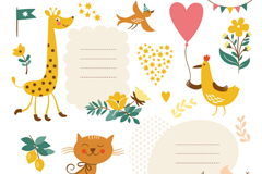 Link toPlayful animals text label vector